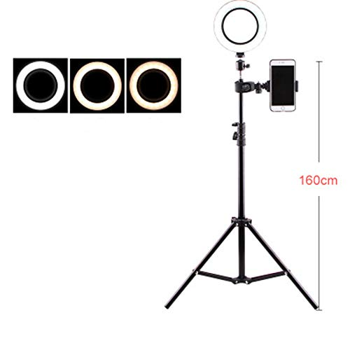 LED Ring Light with Tripod Stand & Cell Phone Holder for Live Stream, YouTube Video, Makeup, Photography Compatible with iPhone,160cm