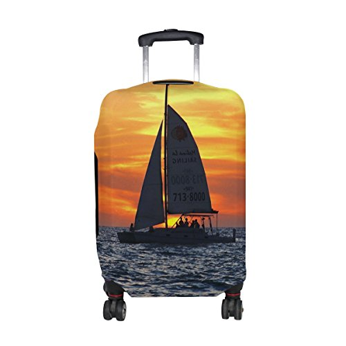 LEISISI Sailboat Gulf Of Mexico Luggage Cover Elastic Protector Fits XL 29-32 in Suitcase