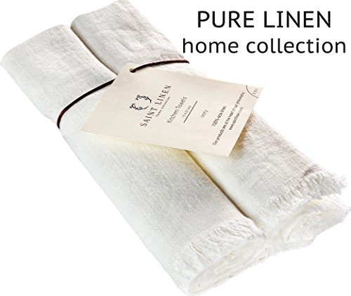 Set of 2 Linen Kitchen Towels Dish Cloth Stone Washed Towels in Ivory Size 17'' x 27''  Pure Linen with High Absorption, Soft Fabric and Lint-Free Safe for Machine Wash Drying - 27' Bath Bar