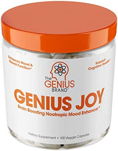 Genius Joy - Serotonin Mood Booster for Anxiety Relief, Wellness & Brain Support, Nootropic Dopamine Stack w/Sam-e, Panax Ginseng & L-Theanine – Natural Anti Stress & Herbal Calm, 100 veggie pills 1