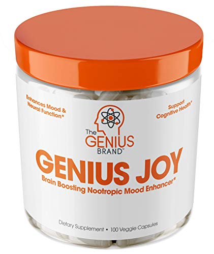 Genius Joy - Serotonin Mood Booster for Anxiety Relief, Wellness & Brain Support, Nootropic Dopamine Stack w/Sam-e, Panax Ginseng & L-Theanine - Natural Anti Stress & Herbal Calm, 100 veggie pills from The Genius Brand