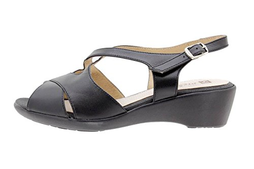 Calzado mujer confort de piel Piesanto 1553 Sandalia Cuña cómodo ancho Negro