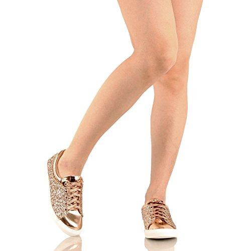 Guilty Schuhe Damenmode Glitter Metallic Schnürschuh Sparkle Slip On - Wedge Platform Sneaker Rosegoldv1 Glitter