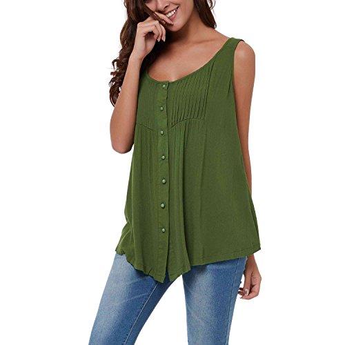 Clocolor Camiseta suelta básica para mujer remera de cuello redondo chaleco suelto sin mangas, verde oscuro
