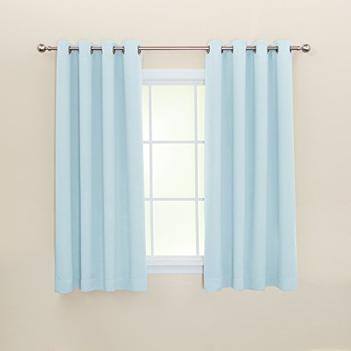 Best Home Fashion Premium Thermal Insulated Blackout Curtain - Stainless Steel Nickel Grommet Top - Sky Blue - 52