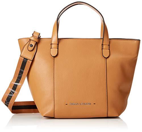 Armani Donna Bag Shopper cognac Borse Medium Exchange Stitched Marrone Tote rwS0q1r