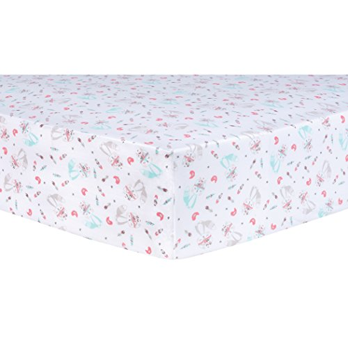 Trend Lab Fox and Flowers Fitted Crib Sheet, (Prairie Fitted Sheet)