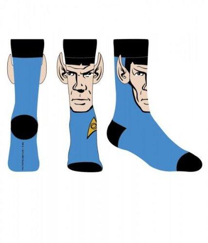 Star Trek Spock With Ears Crew Socks  Blue  Sock Size 10 13  Shoe Size 6 12