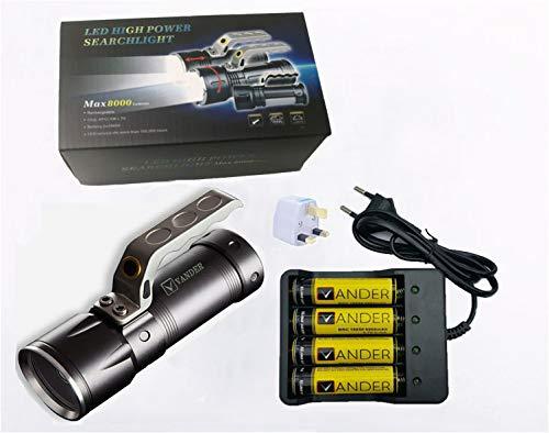 Lampe torche, Vander Vie mise au point réglable torche LED, Super Lumineux Zoomable LED Lampe de poche, 4 x Batteries + Chargeur inclus, étanche de poche torche