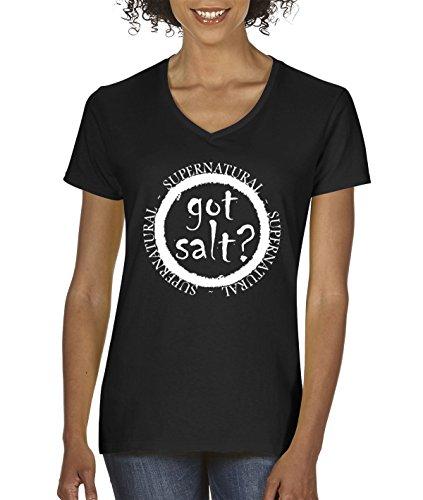 New Way 298 - Women's V-Neck T-Shirt Got Salt Supernatural Funny Parody 2XL Black -