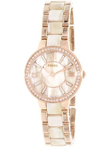 Fossil Women's Virginia Quartz Stainless Steel and Horn Acetate Dress Watch, Color: Rose Gold-Tone (Model: ES3716) from Fossil