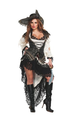 Hidden Treasure Pirate Costumes (Starline Hidden Treasure Pirate Sexy Women's Costume Set, Black/Ivory, Large)