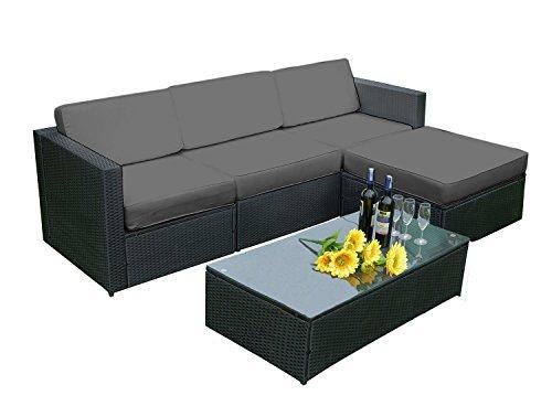 MCombo 5 PC Rattan Outdoor Patio Furniture Set Garden Lawn Sofa Cushioned Seat Sectional Set Wicker Sofa 6089-1005EY