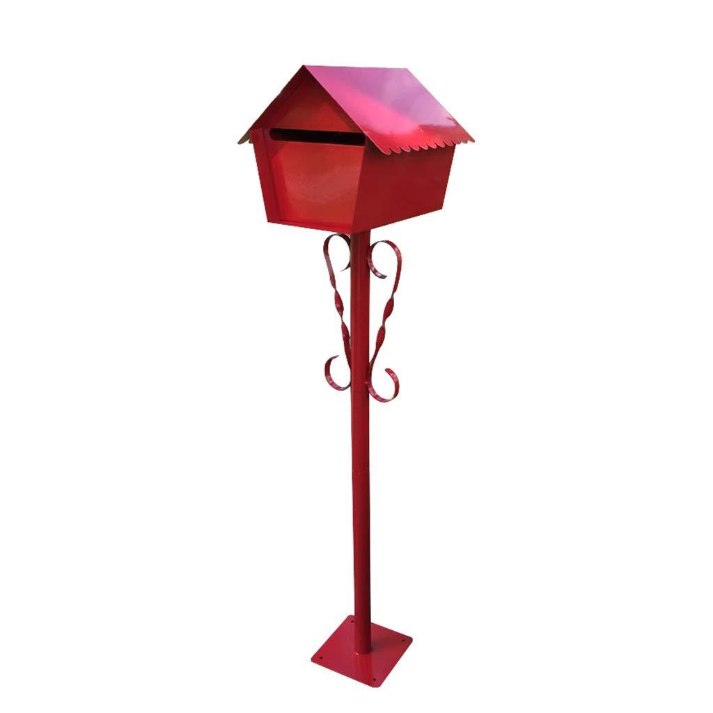 メールボックス、キャビンポールメールボックスはDiyデコレーションレターボックスヴィラガーデンレターボックス(カラー:RED)   B07TS2CJTZ