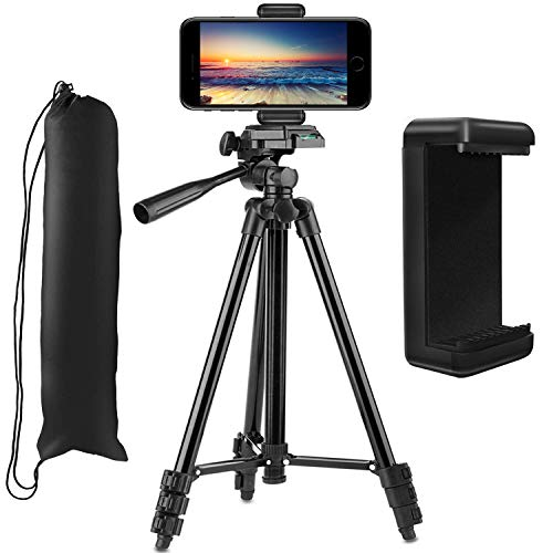 Phone Tripod,PEYOU 50 Inch Lightweight Aluminum Camera Video Tripod + Universal Smartphone Holder Mount Compatible for iPhone XS Max XR X 8 7 6 6S Plus,Compatible for Google Galaxy Note 9 8 S9 S8 Plus