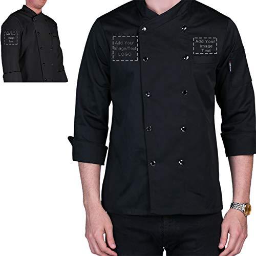 Personalized Customized Chef Jacket- Men's Double Breasted Long Sleeve Chef Coat White Waiter Chef Uniform Hotel Kitchen Restaurant Chef wear (Black, M)