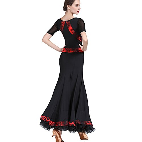 Spallacci Cha Ballo Performance Vestito Black Per Moderno Velluto Donne Da Nazionale Wangmei Le Floreale Gonne Sala Abito Abbinare Valzer Standard xwpU7q7