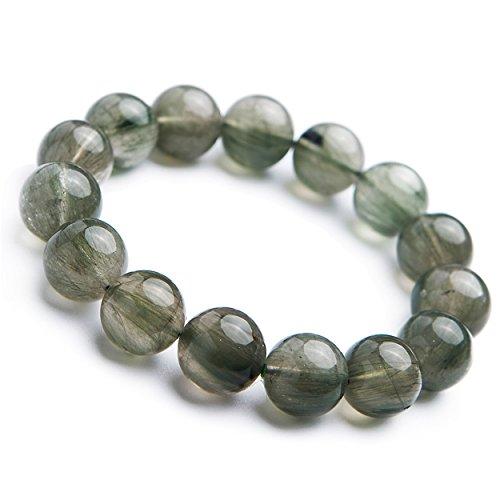 (LiZiFang 14mm Brazil Natural Green Rutilated Quartz Crystal Big Round Bead Bracelet)