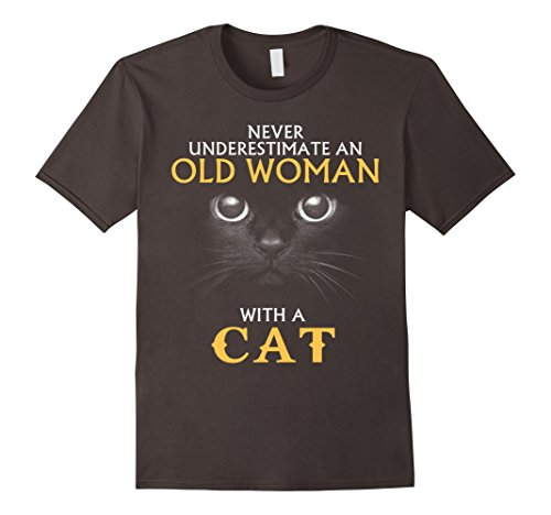 Old Woman Cat Costume (Men's Cat Costume Never underestimate an old woman with a cat 3XL Asphalt)
