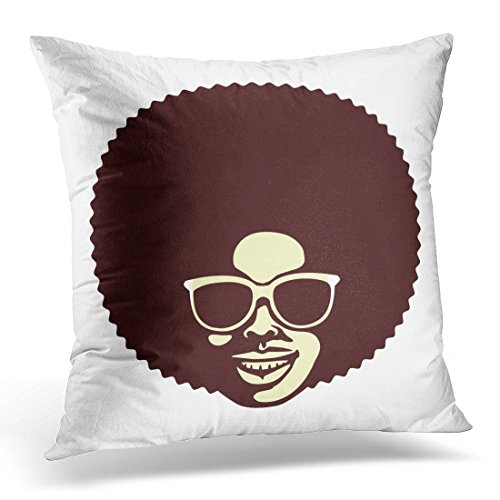 UPOOS Throw Pillow Cover Black Funk Funky Cool African Man with Afro Hairstyle and Sunglasses White 70S Cartoon Decorative Pillow Case Home Decor Square 18x18 Inches - Ghetto Sunglasses