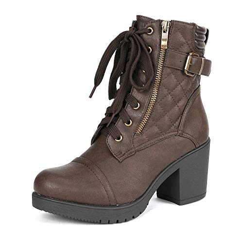 DREAM PAIRS Women's Parka Brown Chunky High Heel Boots Size 8 B(M) US