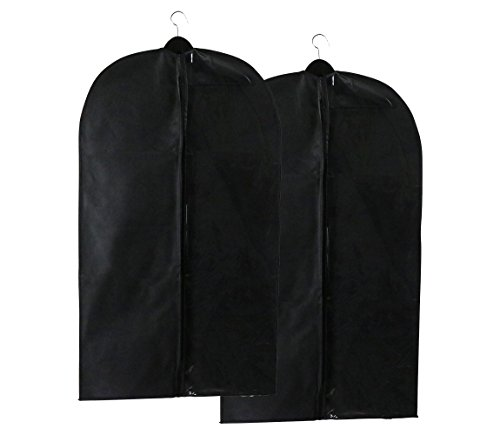 Caskyan 42'' Garment Bags, Breathable Black Non-Woven Fabric + Clear PVC for Dresses, Coats, Suits, Storage or Travel- 2 Pcs by CASKYAN (Image #6)