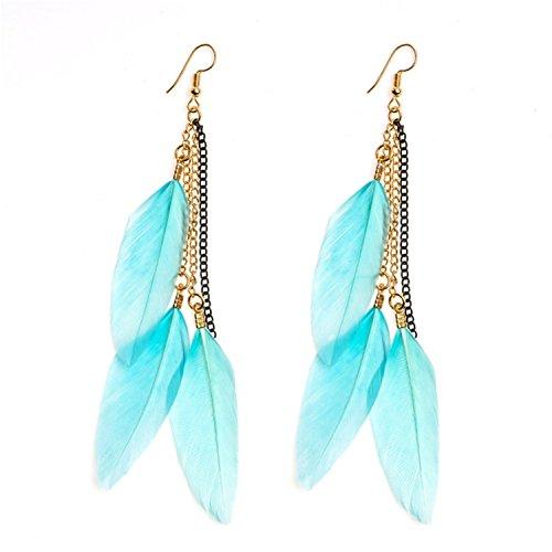 Seaside Holiday Beach Exotic Jewelry Pendant Earrings Long Tassel Feather Earrings Womens Ch537