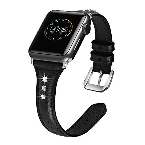 AKOPUGA Slim Band Compatible Apple Watch Band 38mm 40mm, Leather Watch Band with Crystal Replacement Wristband Sport Strap for Iwatch Nike+, Series 4 3 2 1, Edition Stainless Steel Buckle,Black