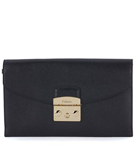 Pochette Furla Metropolis Envelope in pelle nera