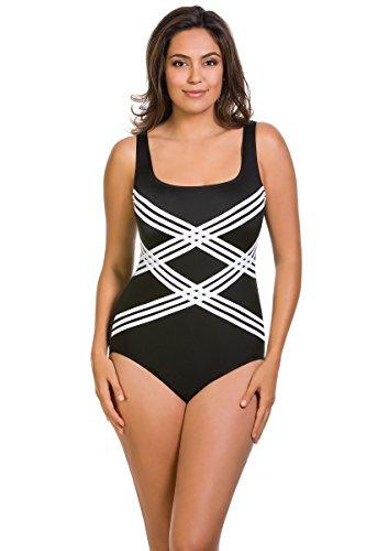 Longitude Woman's Plus Size Colorblock 17 Scoopneck Tank One Piece Swimsuit, Black/White, 18W
