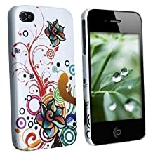 Fosmon Snap On Crystal Case for Apple iPhone 4 / 4S - White Autumn Flowers Design