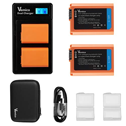 Vemico NP-FW50 Battery Charger Set for Alpha 7/7ii/6500/6400/6300/6000/5100/NEX-7/NEX-6/NEX-F3/NEX-3/NEX-5/NEX-5N/NEX-5T/SLT/A55V/A33/A35/A37 2 x 1200mAh Replacement Batteries for NP-FW50