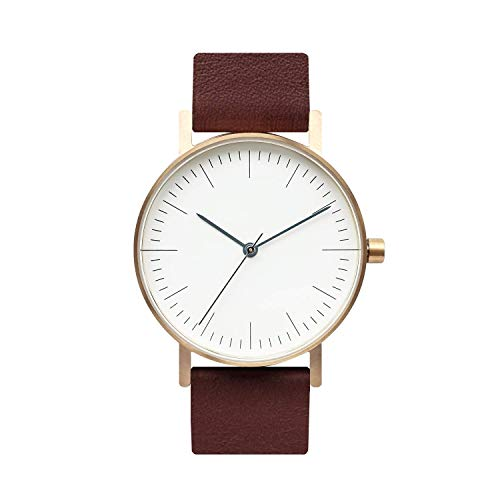 (BIJOUONE B001 Minimalist Brown Leather Stainless Steel Swiss Quartz Unisex Watch, Gold Tone Case)