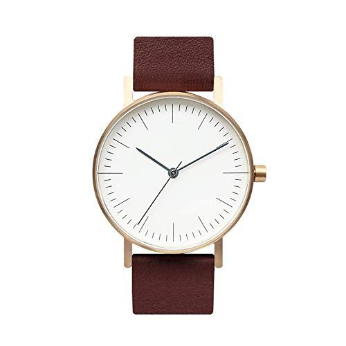(BIJOUONE B001 Minimalist Brown Leather Stainless Steel Swiss Quartz Unisex Watch, Gold Tone Case)