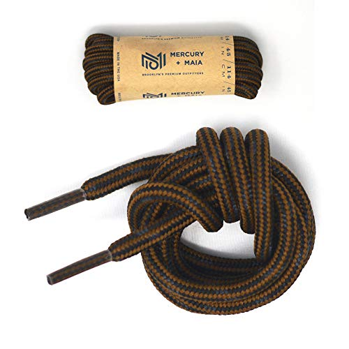 Yellow Oem Spec - Mercury + Maia Honey Badger Boot Laces W/Kevlar - USA Made Shoelaces (Chestnut and Black) (60 inches 2 Pair Pack)