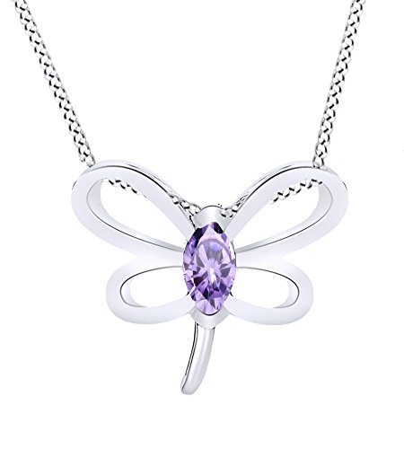 Wishrocks Simulated Alexandrite Butterfly Pendant Necklace 14K White Gold Over Sterling Silver ()