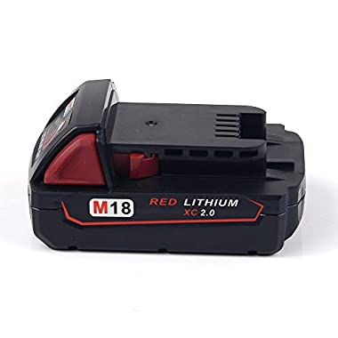 Masione 18V 2.0Ah Li-ion Cordless Tool Replacement Battery for Milwaukee M18 XC 48-11-1815 / 48-11-1820 / 48-11-1840