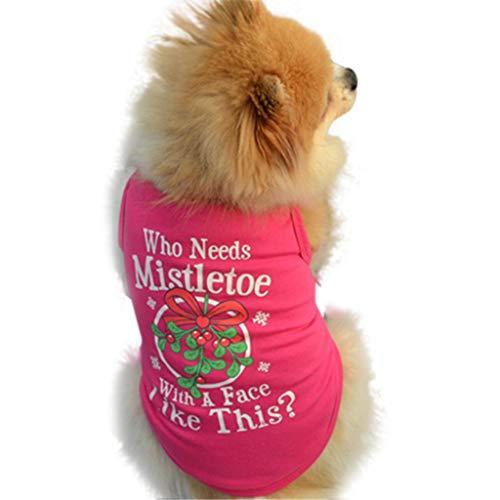 Wakeu Christmas Pet Shirt Small Dog Clothes Pet Puppy Cat Costume Apparel (XS, Hot -