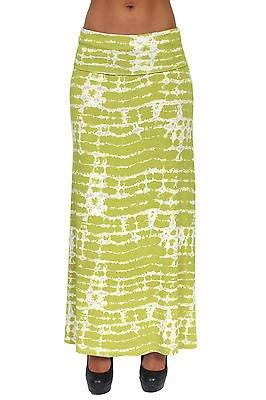 Gorgeous Women's Rayon Tie Dye Full Length MAXI SKIRT: Green (LARGE)