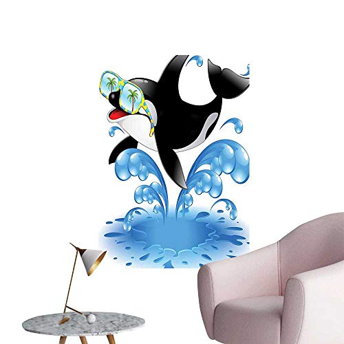 Modern Painting Summer Holiday Ocean Cute Jumping Killer Whale with Sunglasses Cartoon Animal Love Theme Home Decoration,20