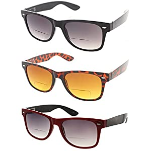 Fiore Cabo 3 Pack Trendy Bifocal Sunglasses UV400 Protection [1 Black | 1 Tortoise | 1 Red, 1.50]