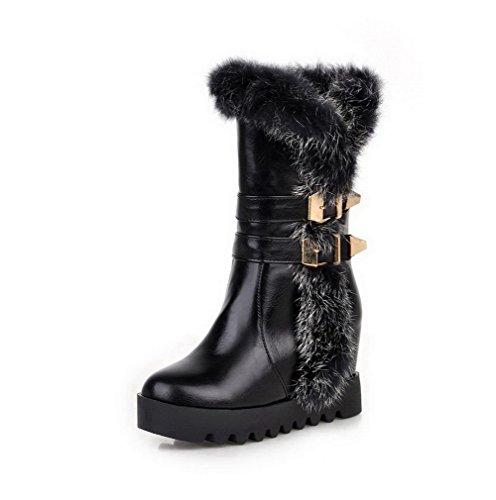 AgooLar Damen Rein Blend-Materialien Hoher Absatz Ziehen auf Rund Zehe Stiefel, Schwarz, 42