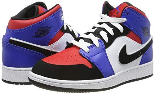 Nike Boy's Air Jordan 1 Mid (GS) Shoe White/Black-Hyper Royal/University Red, Size 3.5 M US Big Kid by Nike (Image #5)
