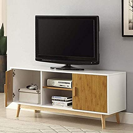 Amazon Com Modern 47 Inch Solid Wood Tv Stand In White Finish And