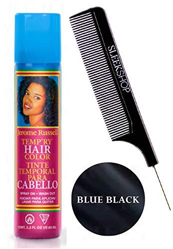 Jerome Russell TEMP-RY HAIR COLOR SPRAY, Temporary Aerosol Hairspray, Hair Color Dye Spray (w/Sleek Steel Pin Tail Comb) Spray On, Wash Out (BLUE BLACK - 2.2 oz / 65 ml) (Wash Out Hair Dye For Dark Hair)