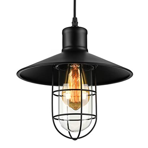 Pendant lights, BAYCHEER HL371419 Industrial Vintage Style Glass House cage hanging lamp Ceiling Lighting use 1 E26 Bulb. Black from BAYCHEER