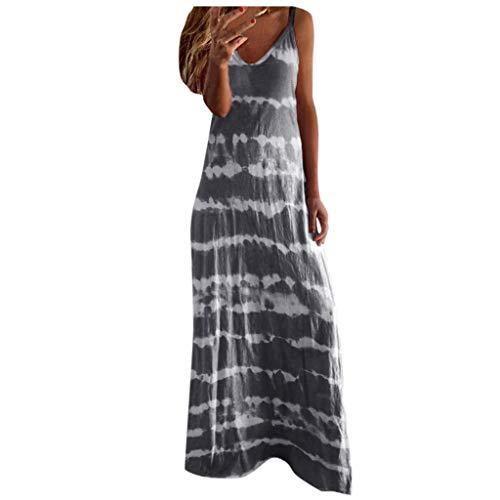 COOKI Women Dresses Women Casual Sleeveless V-Neck Tie Dye Loose Plus Size Maxi Dresses Boho Long Dresses Summer Beach Dress