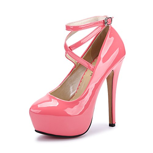 - Women's Ankle Strap Platform Pump Party Dress High Heel #10 PU Peach Red Tag 46 - US B(M) 12