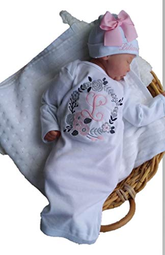 theposhlayette Newborn Baby Girl Coming Home Outfit Personalized Layette Gown with Beanie Baby Girl Shower Gifts (White/Pink) (0 to 3 Months)