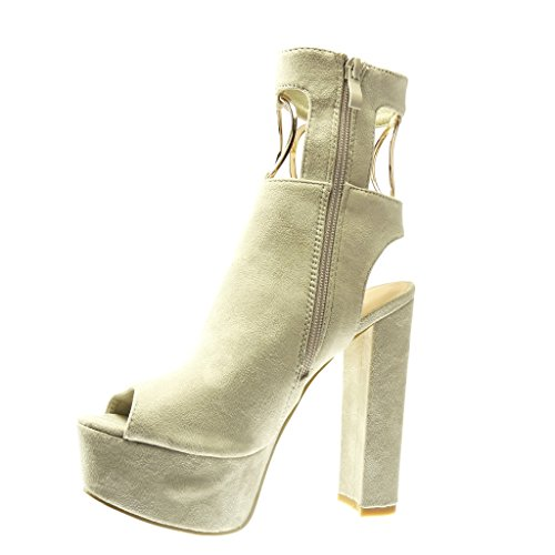 Ankle Heel Boots Golden Women's cm Open Block Booty Sandals 5 Beige 13 Sexy High Angkorly Buckle Platform Fashion Shoes Thong q4tBcqnpZ